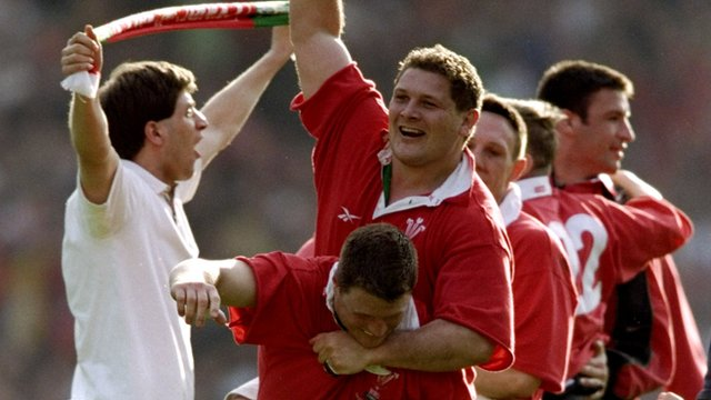 Wales celebrate their 1999 Wembley victory
