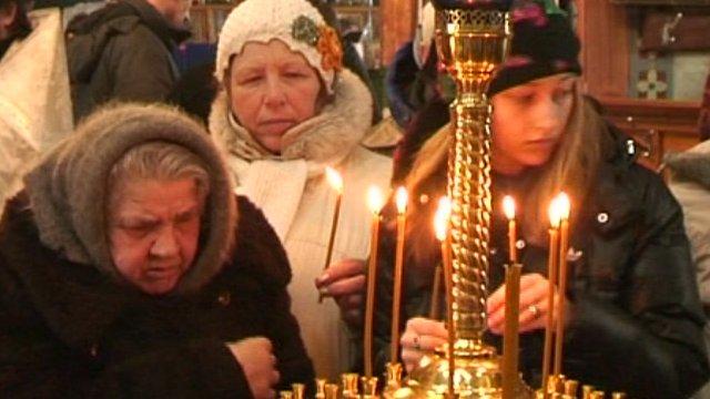 Mass for the dead in Kiev