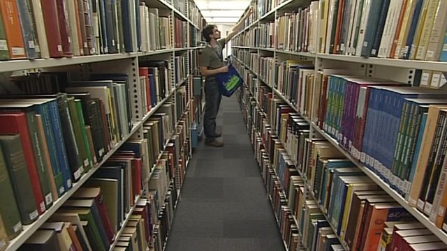A student in a library