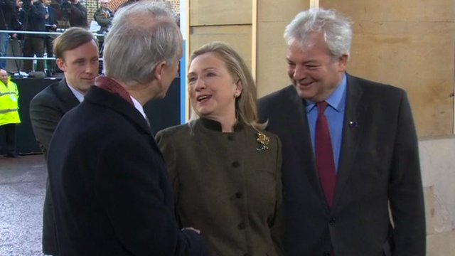 Hillary Clinton arrives at the conference