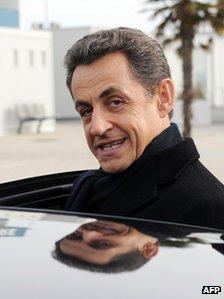Nicolas Sarkozy on a visit to La Rochelle, western France, 21 February