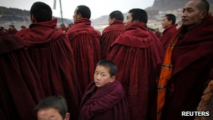 File photo of monks in Sichuan province