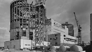 Oldbury Power Station - reactor 1 (near) and reactor 2 being built