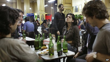 File photo of people drinking in a bar in Cairo