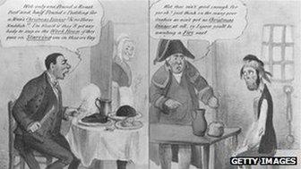 A cartoon depicting 1834 Poor Law