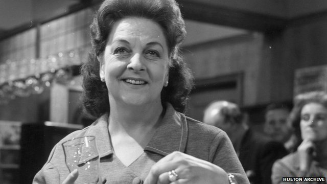 Actress Betty Driver as barmaid Betty Turpin in 1970