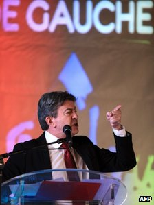 Jean-Luc Melenchon addressing a rally in Bastia, northern Corsica, 22 February