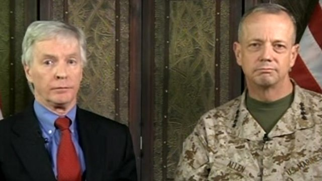US ambassador to Afghanistan Ryan Crocker and General John Allen