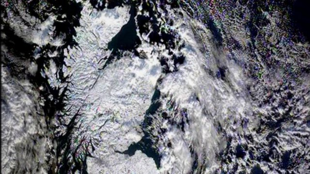 Map of part of Britain covered in snow