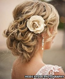 A wedding-day hairstyle by Charmed Beauty hair salon in California