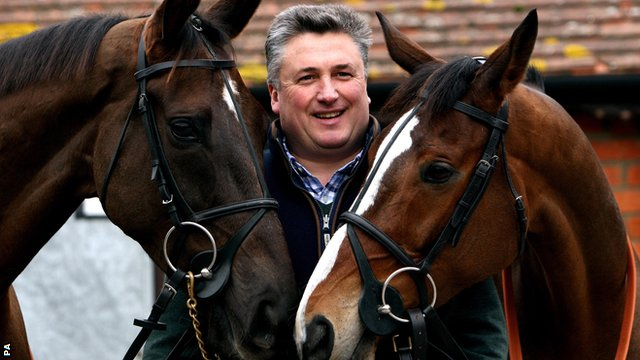 Trainer Paul Nicholls with Denman (left) and Kauto Star (right) at his stables in Ditcheat, Somerset.