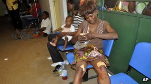 Injured woman at hospital in Brazzaville