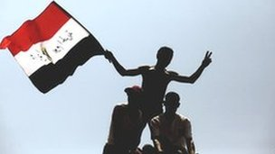 Egyptian protesters with flag
