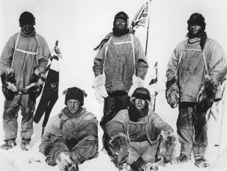 Standing, left to right - Capt Lawrence Oates, Capt Robert Falcon Scott, PO Edgar Evans. Seated, left to right - Lt Henry (Birdie) Bowers, Dr Edward Adrian Wilson (Picture: PA/University of Cambridge)