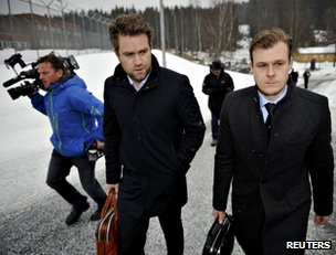 Breivik's defence lawyers come to his prison near Oslo, 7 March