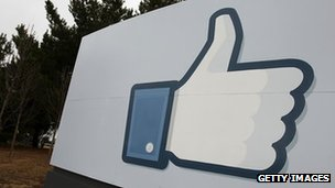 Facebook 'like' symbol outside headquarters
