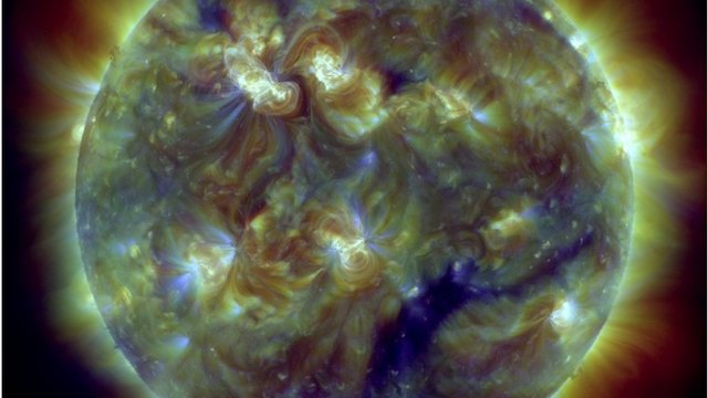Nasa image showing extreme ultraviolet wavelengths on Sun's surface