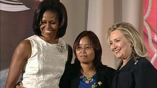 Michelle Obama, Burmese activist Zin Mar Aungwas and Hillary Clinton
