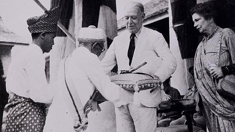 Vyner Brooke's reinstatement - he receives the Sword of State from Datu Patinggi after Japanese Occupation, 1946