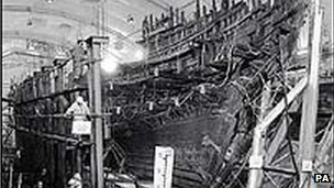 Mary Rose in dry dock pictured in 1985
