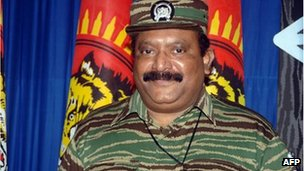 This undated handout picture released by The Liberation Tigers for Tamil Eelam (LTTE), LTTE leader Velupillai Prabhakaran poses at an undisclosed location in Sri Lanka