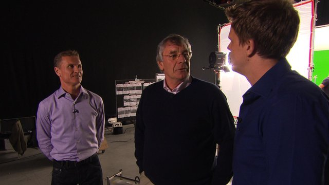 David Coulthard, Gary Anderson and Jake Humphrey