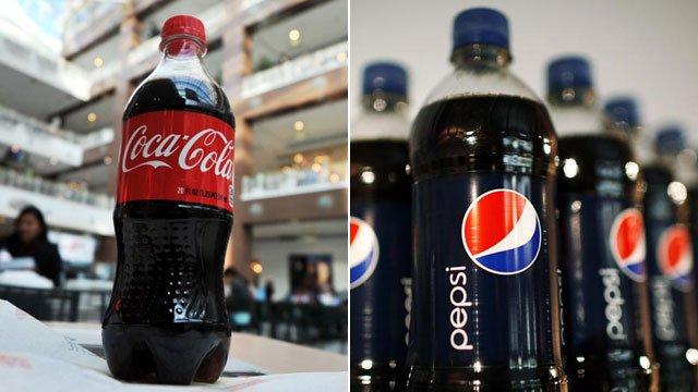 Bottles of Coca Cola and Pepsi Cola