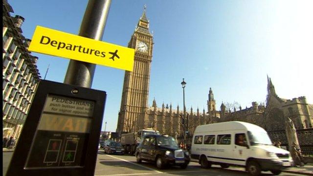 Departure sign in Westminster scene