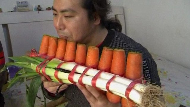 Panpipes made from carrots!