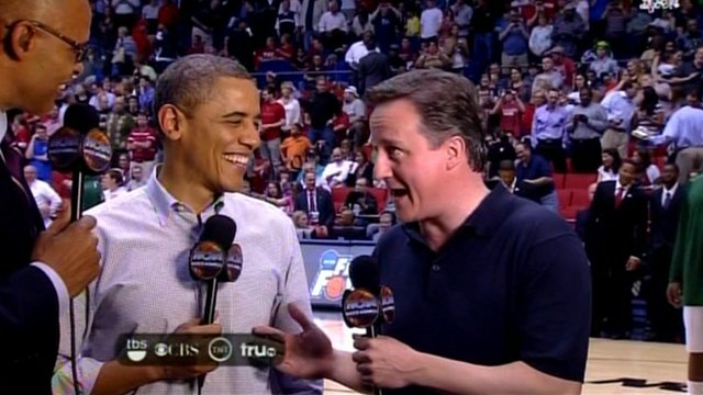 David Cameron and Barack Obama give an American network a joint TV interview at half time.