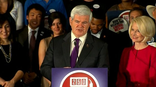 Newt Gingrich addresses supporters in Alabama.