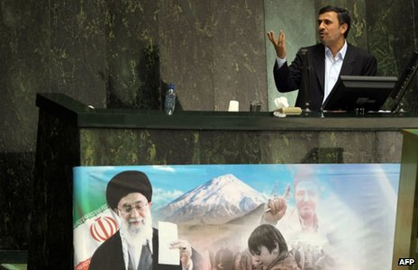 Mahmoud Ahmadinejad answers questions in parliament (14 March 2012)
