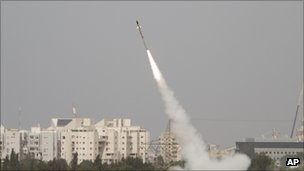 An Israeli missile launched near Ashdod on 12 March in response to Palestinian rocket fire.