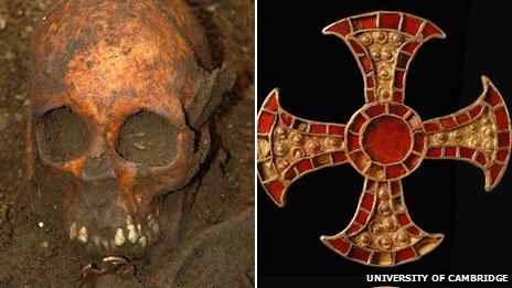Skull of Anglo-Saxon girl and cross