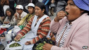 Bolivian women chewing coca during a protest n defence of the leaf, 12 March 2012