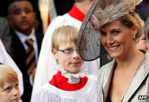 The Countess of Wessex leaves after the Commonwealth Day Observance service at Westminster Abbey