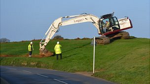 Work begins on removing soil from the bund outside Guernsey Airport