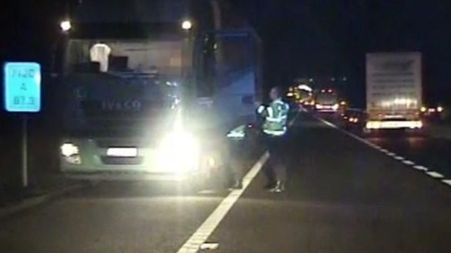 Police stop Ireneusz Popiielarz on the hard shoulder of the M20 near Ashford