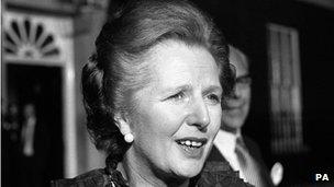 Margaret Thatcher outside 10 Downing Street