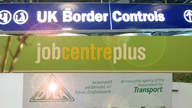 UK border control, job centre and DVLA signs