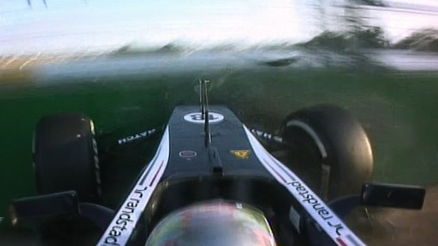 Pator Maldonado crashes on the final lap