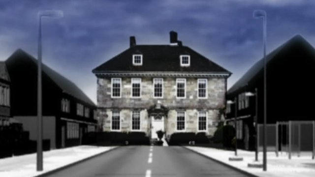Animation showing street of expensive homes