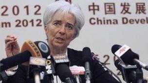 IMF Managing Director Lagarde speaks in Beijing