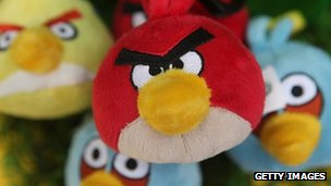 Some Angry Birds stuffed toys