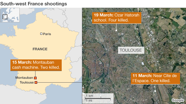 Map of south-west France shootings