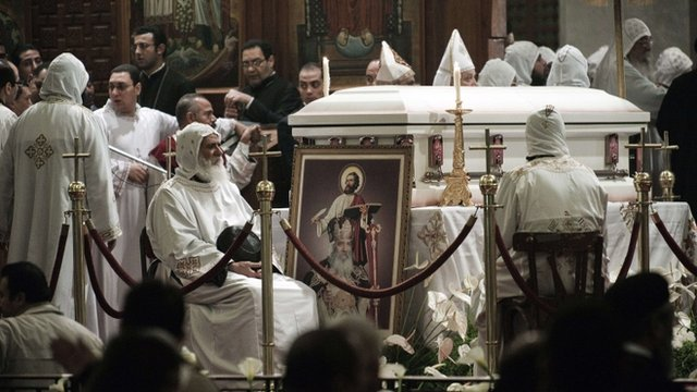 Casket containing the body of Pope Shenouda III