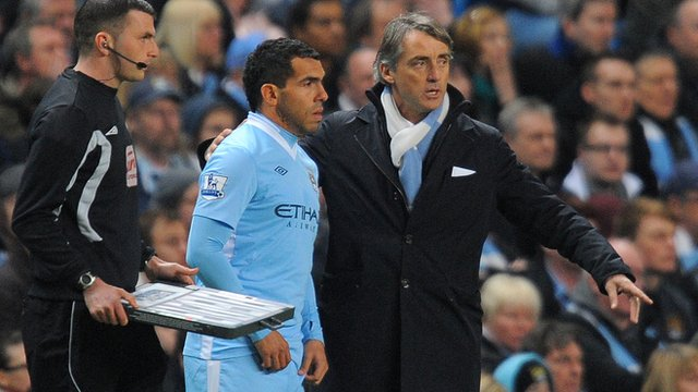Carlos Tevez comes off the bench for Manchester City against Chelsea