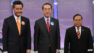 From left: CY Leung, Henry Tang and Albert Ho