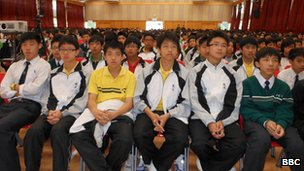 Students at Fung Kai Number One Secondary School