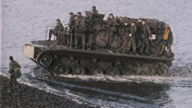 British troops on landing craft, San Carlos 1982